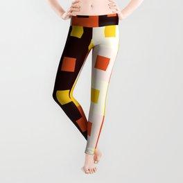 Geometric Pattern #74 (orange stripes squares) Leggings