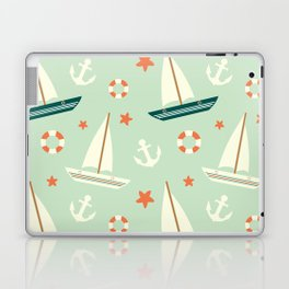 cute colorful sailboat pattern with anchor and lifebuoy Laptop & iPad Skin