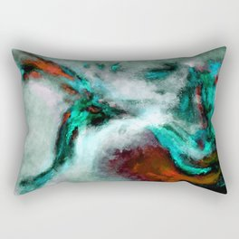 Surrealist and Abstract Painting in Turquoise and Orange Color Rectangular Pillow