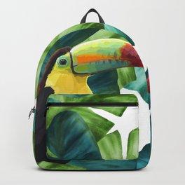 Toucans Tropical Banana Leaves Pattern Backpack