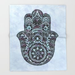 Watercolor Blue Pink Hamsa Hand Throw Blanket