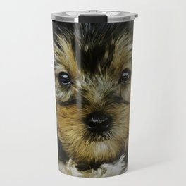 Yorkshire Terrier Puppy Sitting in front of a Christmas Poinsettia Background Travel Mug