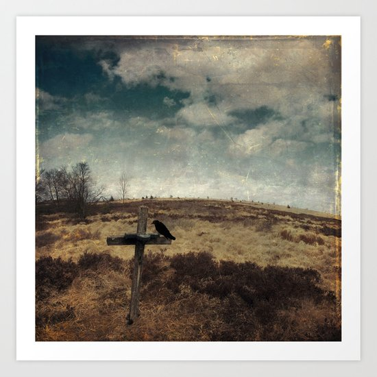 a cross in the moor Art Print
