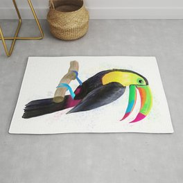 Toucan Watercolor Artwork Rug