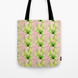 Pastel pink green hand painted tropical leaves pattern Tote Bag