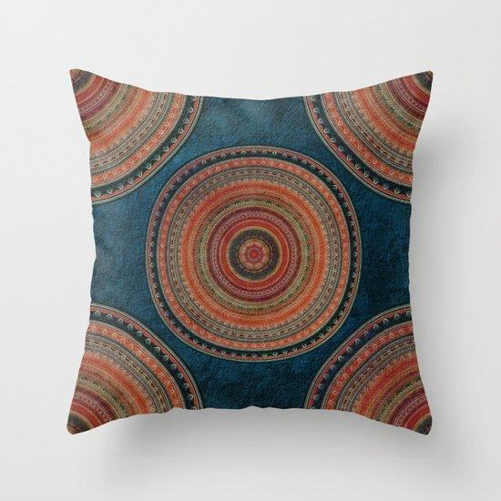 Earth Tone Colored Mandala Throw Pillow by Klara Acel Society6