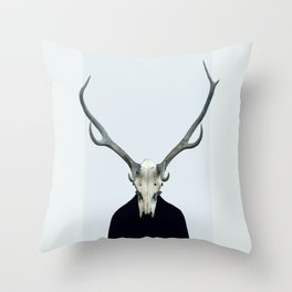 Living Skull and Horns Throw Pillow