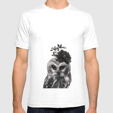 Portrait of Owl Mens Fitted Tee SMALL White