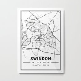 Swindon Light City Map Metal Print