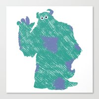 monster inc Canvas Prints featuring MONSTER INC. : SULLEY by DrakenStuff+