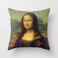 mona lisa Throw Pillows featuring Mona Lisa by Leonardo da Vinci by Palazzo Art Gallery