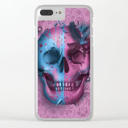 skull art decor pink Clear iPhone Case
