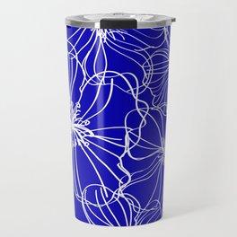 Flower Drawing, Blue and White Travel Mug
