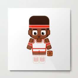 Basketballer - White and Red Metal Print