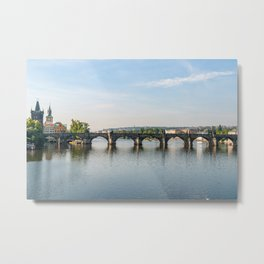 Charles bridge and Vltava river - Prague, Czech Republic Metal Print