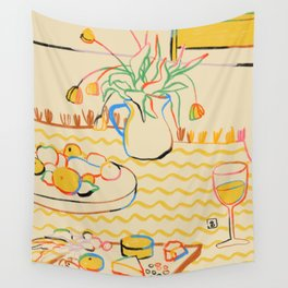 YELLOW TULIPS, WINE AND CHEESE Wall Tapestry