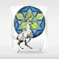 stag Shower Curtains featuring STAG by The Traveling Catburys