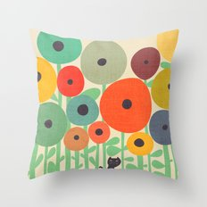 Cat in flower garden Throw Pillow