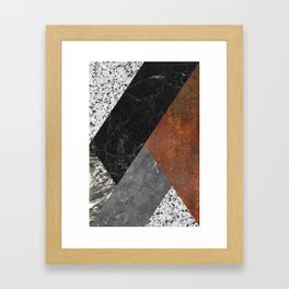 Marble, Granite, Rusted Iron Abstract Framed Art Print