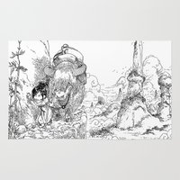 bouletcorp Area & Throw Rugs featuring Promenade dans la montagne - Walking in the mountains by Bouletcorp