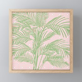 Retro Tropical Palm Trees and Geometric Square Pattern in Modern Pink and Green Framed Mini Art Print