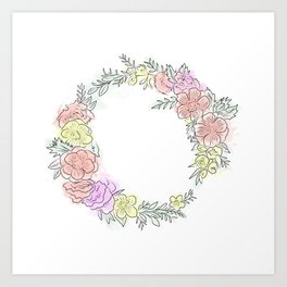 Friday fresh collection , pastel colors flowers . Home decor Art Print