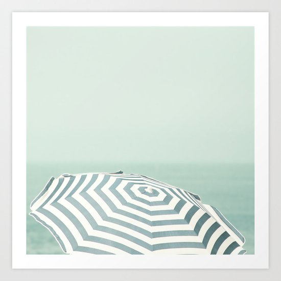 Parasol - Summer Beach Blue Stripes Photography Art Print