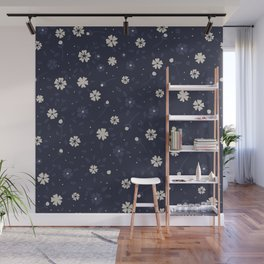 White and blue small flowers Japanese pattern Wall Mural