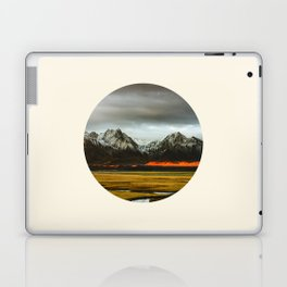 Iceland Landscape Grass Orange Sand & Grey Mountains Round Frame Photo Laptop & iPad Skin