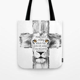 Lion Cross jesus revelation Tote Bag