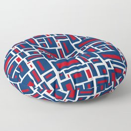 Modern Geometric in Red, White and Blue Floor Pillow