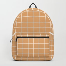 Fawn - brown color - White Lines Grid Pattern Backpack