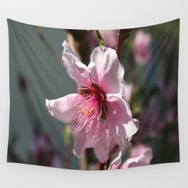 Close Up of Peach Tree Blossom Wall Tapestry