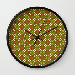 New year 2016 pattern in green Wall Clock