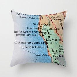 Californina Camping Map Throw Pillow