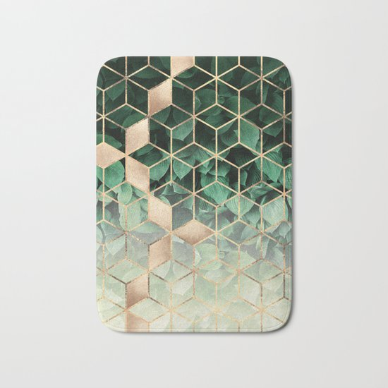 Leaves And Cubes Bath Mat