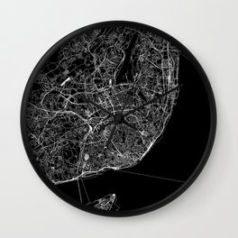 Lisbon Black Map Wall Clock