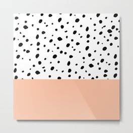 Elegant black toffee color watercolor polka dots  Metal Print