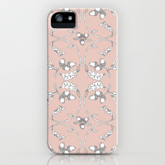 Acorns and ladybugs pink pattern iPhone Case