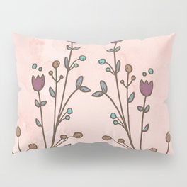 Pink Water Color with floral print Pillow Sham