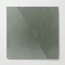 Line Art Leaf Pattern III Metal Print
