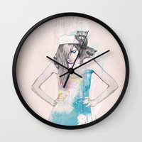 raccoon Wall Clocks featuring Raccoon Love by Ariana Perez