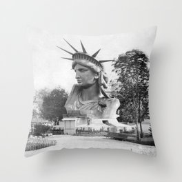 The Statue of Liberty Head On Display - Paris France 1883 Throw Pillow