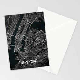 New York City Map of the United States - Dark Stationery Cards