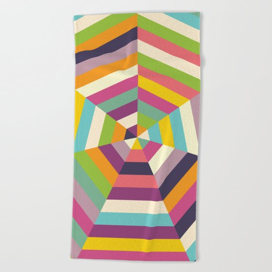 Heptagon Quilt 1 Beach Towel