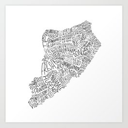 Staten Island - Hand Lettered Map Art Print