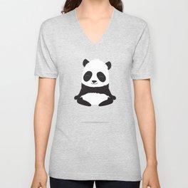 Mindful panda levitating Unisex V-Neck