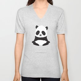 Mindful panda levitating Unisex V-Neck