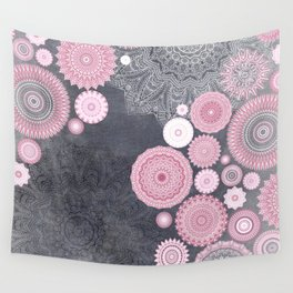 FESTIVAL FLOW - PINK GREY Wall Tapestry