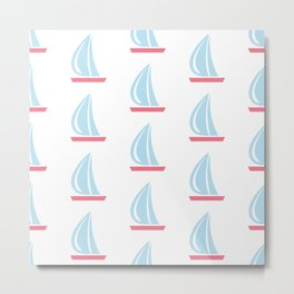 Seamless pattern with sail boats  Metal Print